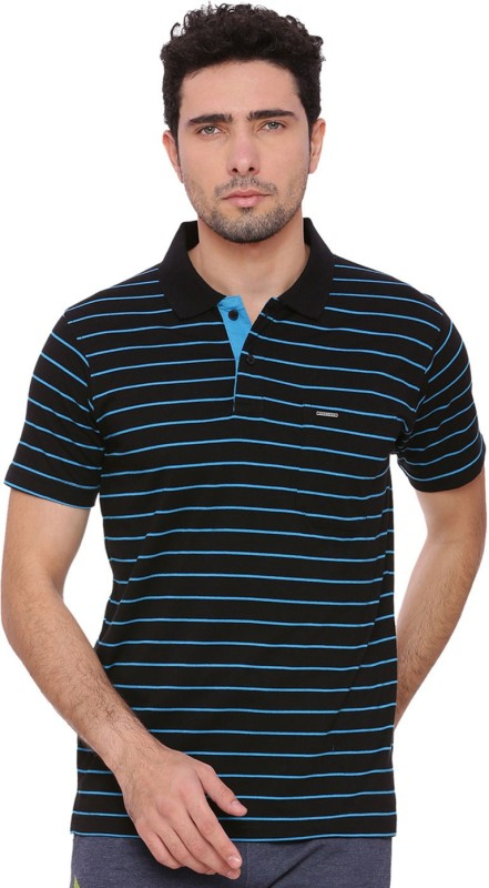 Proline Striped Men Polo Neck Black T-Shirt