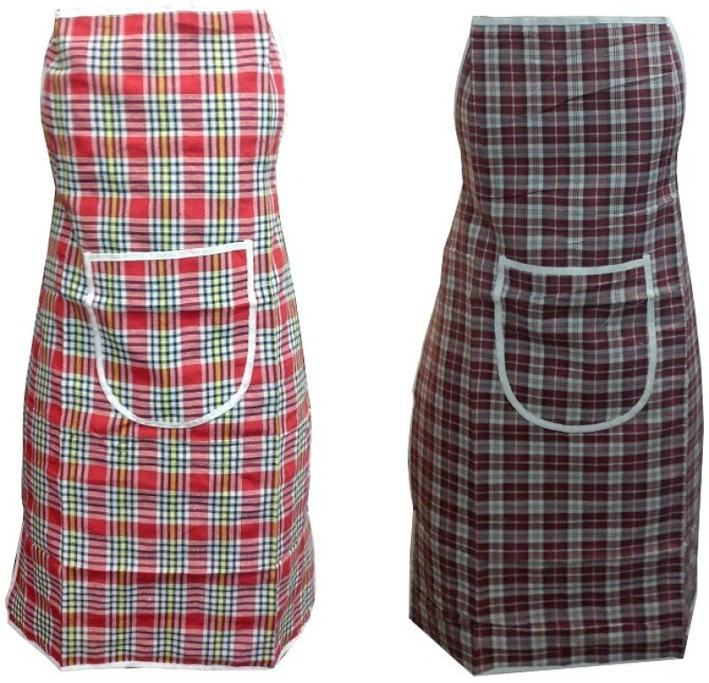 LooMantha Cotton Chef's Apron - Free Size(Multicolor, Pack of 2)