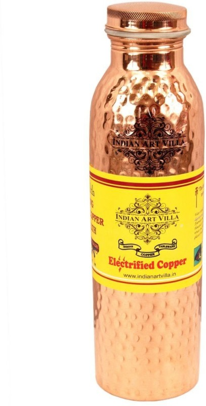 IndianArtVilla Copper Hammered Leak Proof Bottle 550 ML 550 ml Bottle(Pack of 1, Brown)