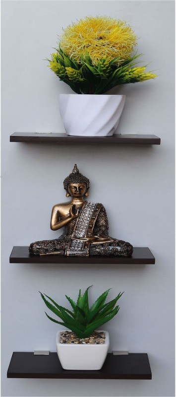 Captiver Display set of 3 10X20 CM wenge wooden Dcor stand mounted cupboard dining living room Showcase cabinet Organizer multipurpose holder utility rack Shower Stellar Decorative MDF Wall Shelf(Number of Shelves - 3, Black)