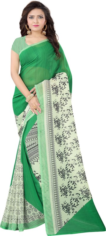 Vimalnath Synthetics Floral Print Fashion Georgette Saree(Dark Green)