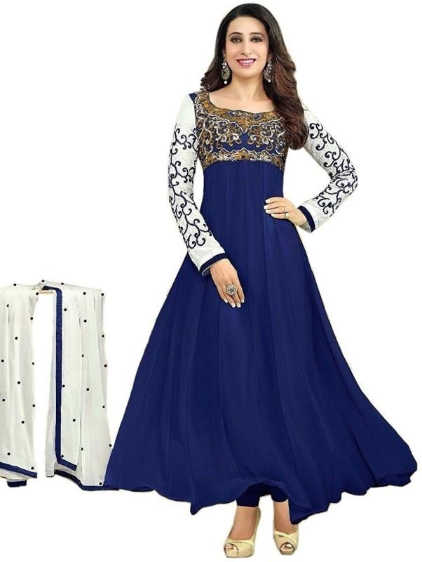 ZORO Georgette Embroidered Semi-stitched Salwar Suit Dupatta Material, Semi-stitched Salwar Suit Material,...