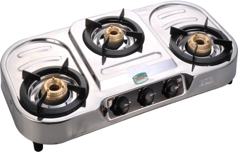 GOLDEN SURYA Stainless Steel Manual Gas Stove(3 Burners)