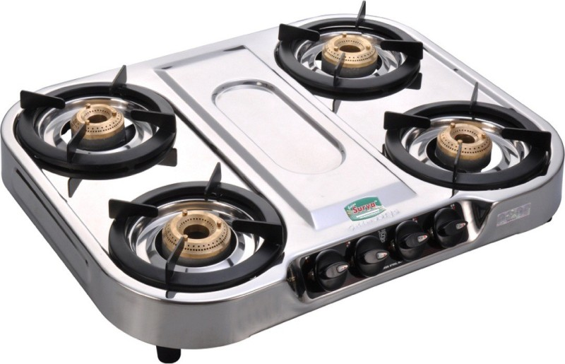 GOLDEN SURYA Stainless Steel Manual Gas Stove(4 Burners)