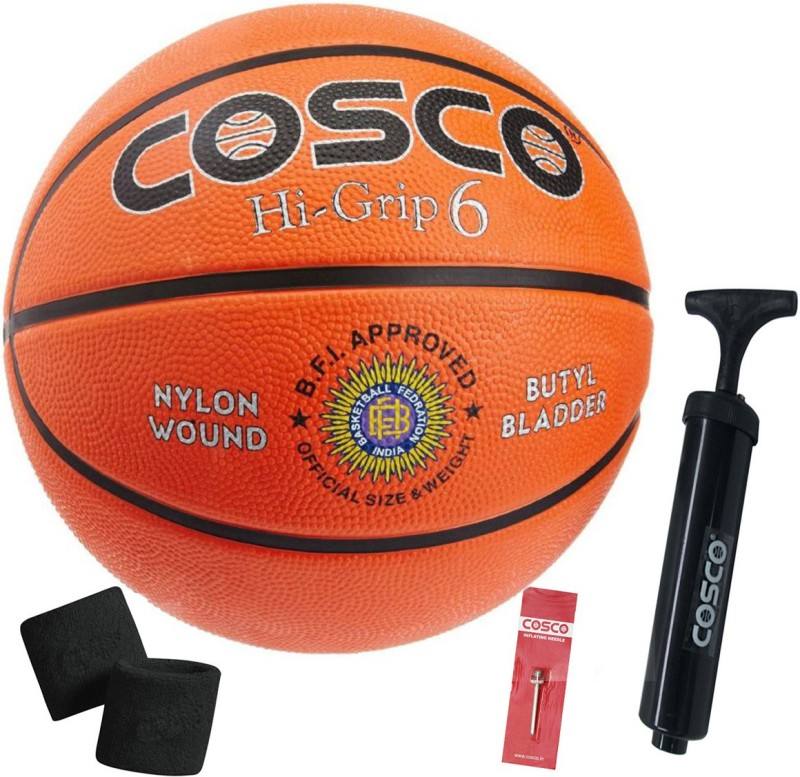 Cosco Hi-Grip Size-6 Basketball With Basketball Pump With Pair Wrist Band Basketball Kit