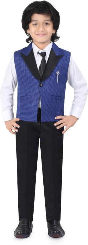 Jeetethnics Waistcoat Suit Self Design Boys Suit