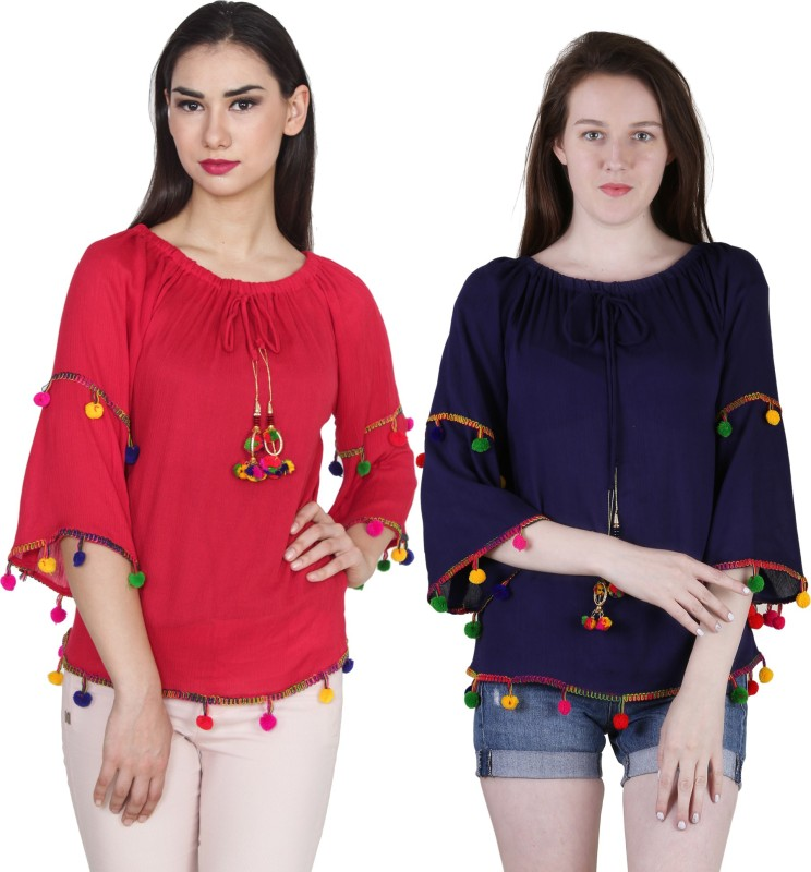 Jollify Casual Bell Sleeve Solid Women's Red, Blue Top