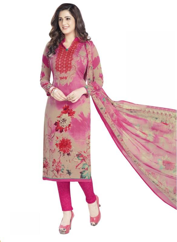 Drapes Crepe Printed Salwar Suit Dupatta Material(Un-stitched)