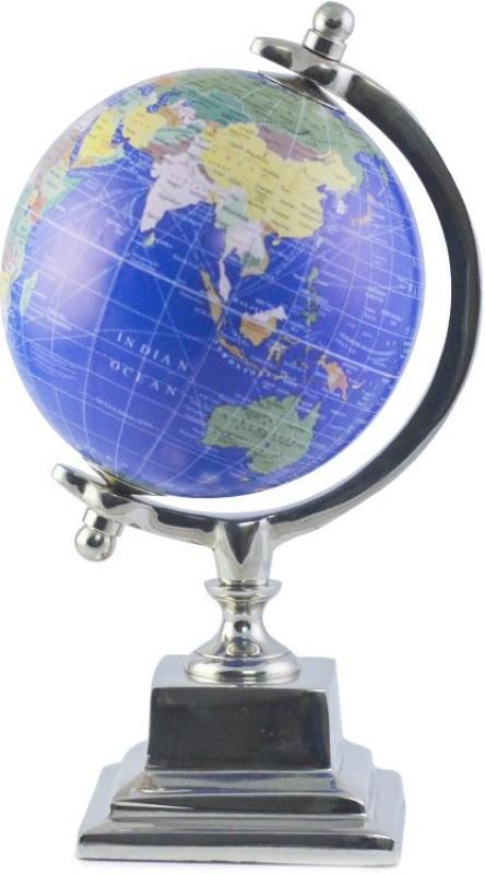 Casa Décor Handmade Veteran Blue Desktop Rotating Globe Chrome Metal Base Stand World Globe - Perfect Globes for Students and Kids - Political Globe - Decorative Gift Item Desk & Table Top Political World Globe(Small Blue)