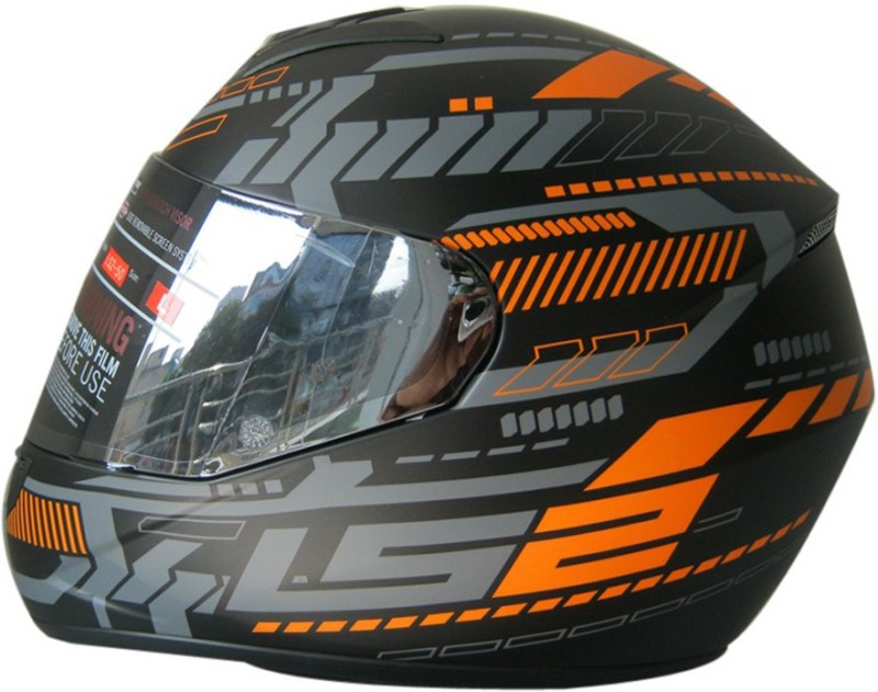 LS2 Helmet FF352-L Tron Matt Black Orange Motorbike Helmet(Black, Orange)