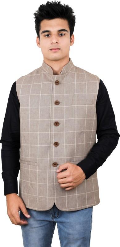 La Rainbow Sleeveless Checkered Mens Linen Jacket
