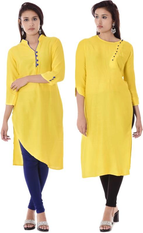 DUENITE Casual Solid Women Kurti(Pack of 2, Yellow)