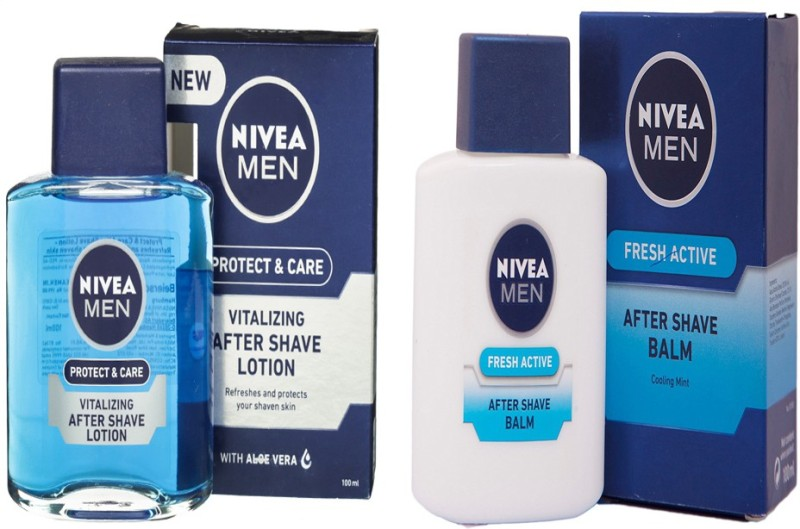 Nivea MEN FRESH ACTIVE AFTER SAVE BALM 100 ML + MEN PROTECT & CARE VITALIZING AFTER SHAVE LOTION 100 ML(100 ml)