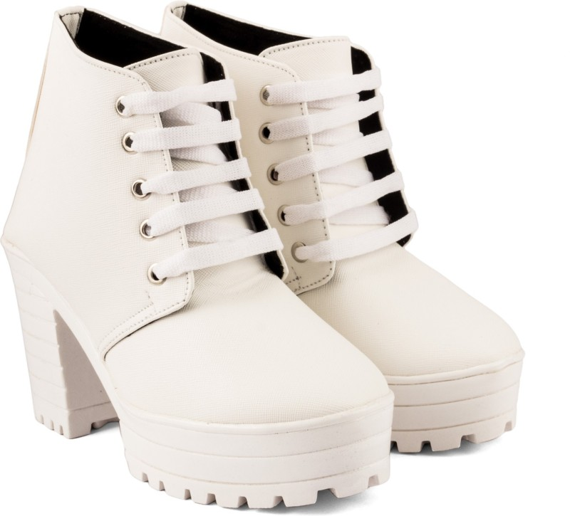 Cute Fashion Cute Fashion White Ankle Boots BootsW