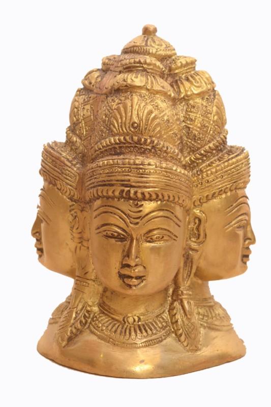 Purpledip Brass Statue Mukhalingam - Lord Shiva With Four Faces (10922) Decorative Showpiece - 12 cm(Brass, Gold)