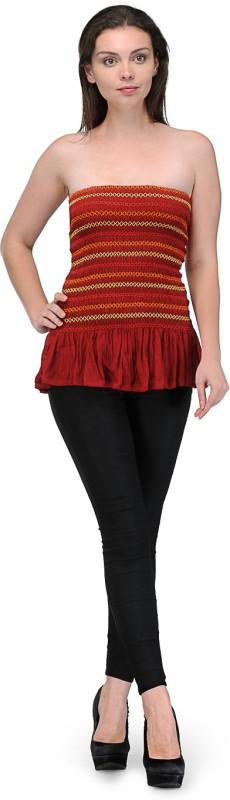 Bansons Fashion Casual Sleeveless Striped Women's Maroon Top