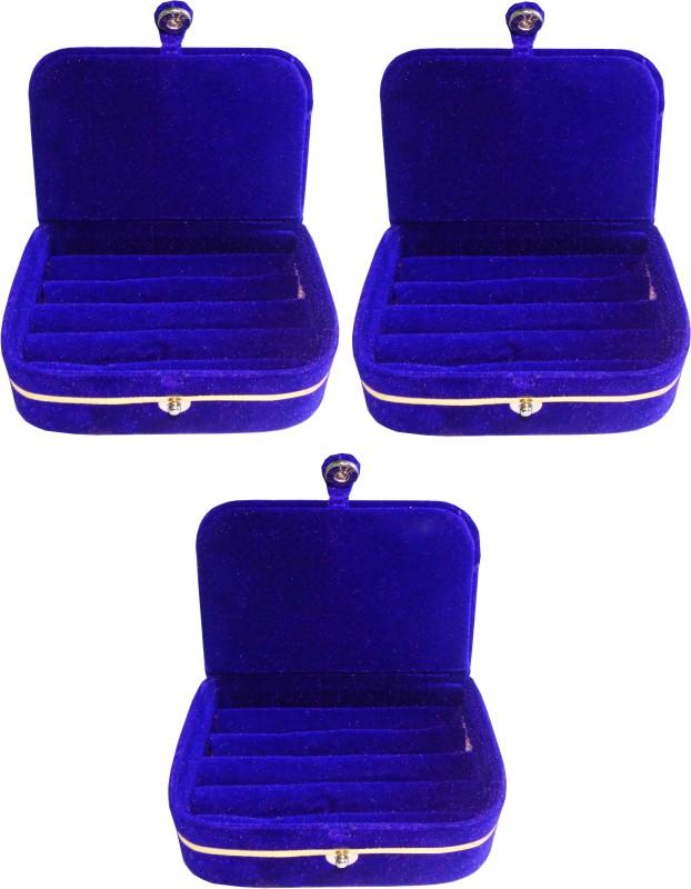 Funkroo Pack of 3 blue ring folder Studs Tops jewelry cosmetic case Vanity Box makeup Vanity Box(Blue)