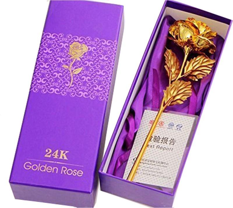 Lakshmi Golden Rose Gold Rose Artificial Flower(10 inch, Pack of 1)