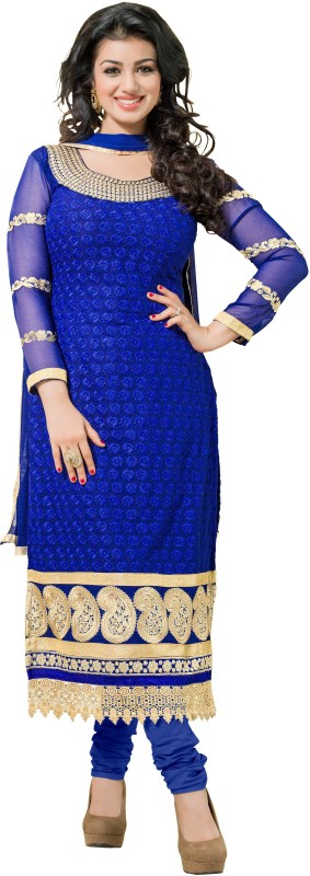 Blissta Poly Georgette Self Design, Embroidered Salwar Suit Material(Unstitched)