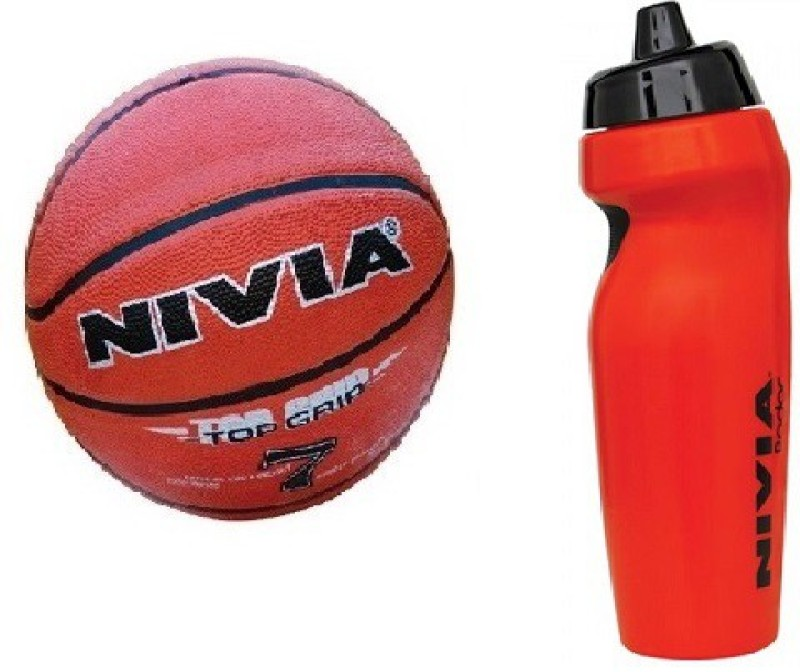 Nivia Combo of Two, One 'Top Grip' Basketball Size -7 and one 'Radar' Sipper (Color On Availability) - Basketball Kit