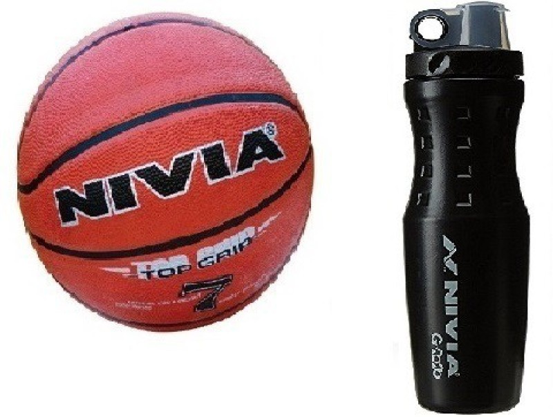 Nivia Combo of Two, One 'Top Grip' Basketball Size -7 and one 'G 2020' Sipper (Color On Availability) - Basketball Kit