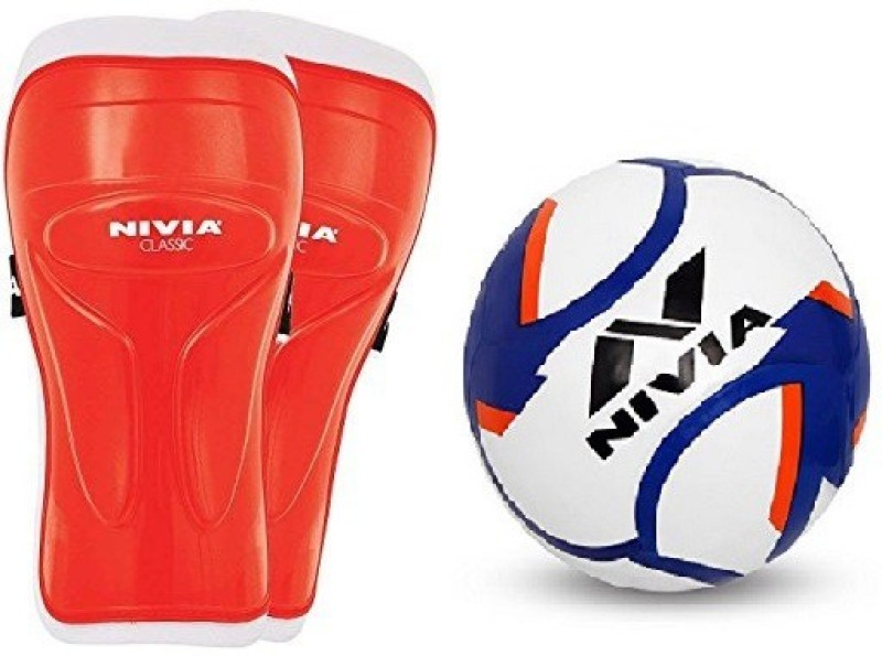 Nivia Combo of Two, one Pair of Classic Shin Guard (Color On Availability) and one Dominator Football- Football Kit