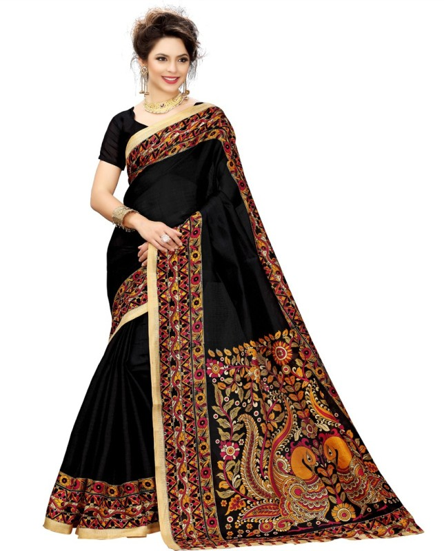 Indianbeauty Printed, Woven Kalamkari Art Silk Saree(Black)