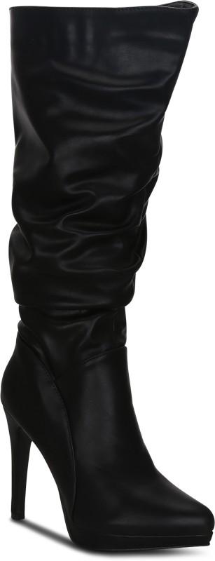 Kielz Black-Synthetic-Women-Boots Boots For Women(Black)