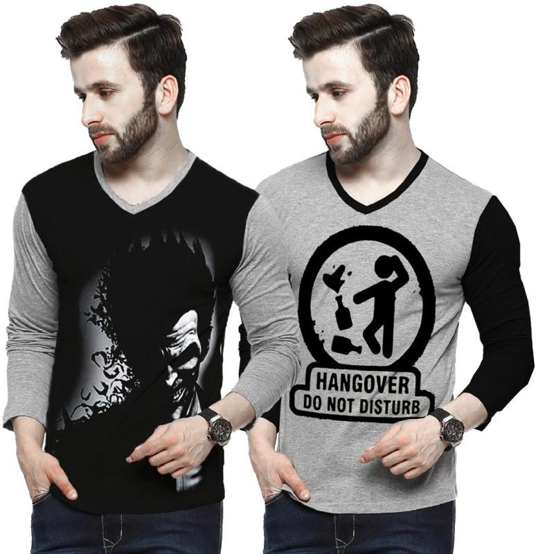 Tripr Printed Men V-neck Multicolor T-Shirt(Pack of 2)