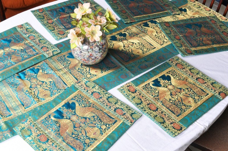 Lal Haveli Green Silk Table Linen Set(Pack of 7)