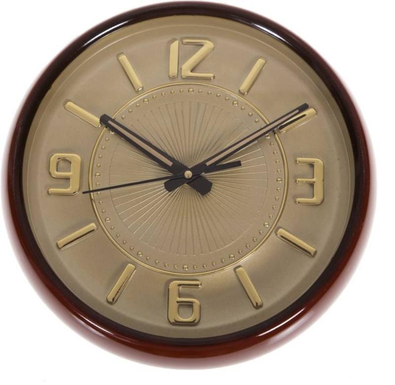 GrabBasket Analog Wall Clock(golden, With Glass)