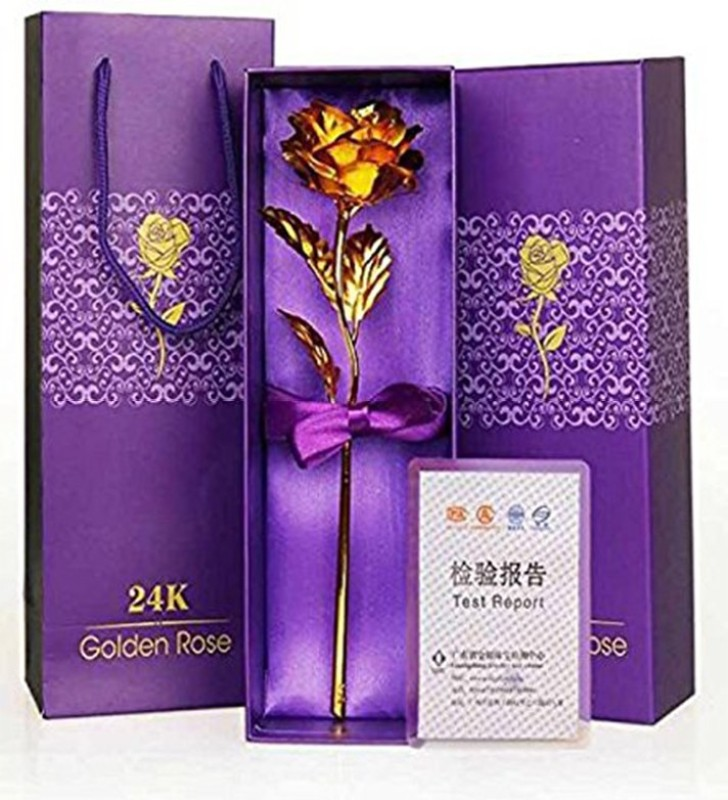 SKY TRENDS New Year Gift For Girlfriend,Wife,Husband,Boyfriend,Friend,Family & etc. Gold Rose Artificial...