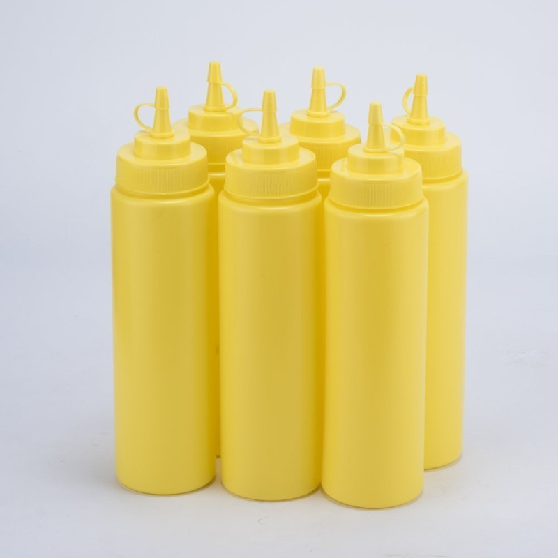 Godskitchen 8 Ounce (Set of 6) Yellow, Squeeze Bottles, Plastic Squeeze Squirt Condiment Bottle with Twist On Cap Lid - top dispensers for ketchup mustard mayo hot sauces olive oil - bpa free bbq set 240 ml Bottle(Pack of 6, Yellow)
