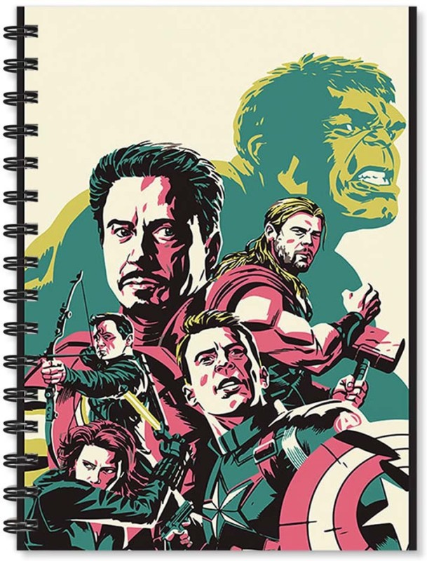 100yellow A5 Notebook(Notebook | Avengers Movie Printed Notebook | Designer Wire Bound Ruled Paper Sheets Personal And Office Stationary Notebooks Diary (Multi), Multicolor)