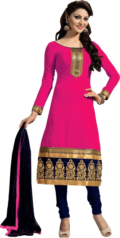 Zombom Chanderi Embroidered Salwar Suit Dupatta Material(Un-stitched)