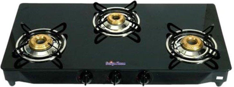 Surya sidhi Glass Manual Gas Stove(3 Burners)