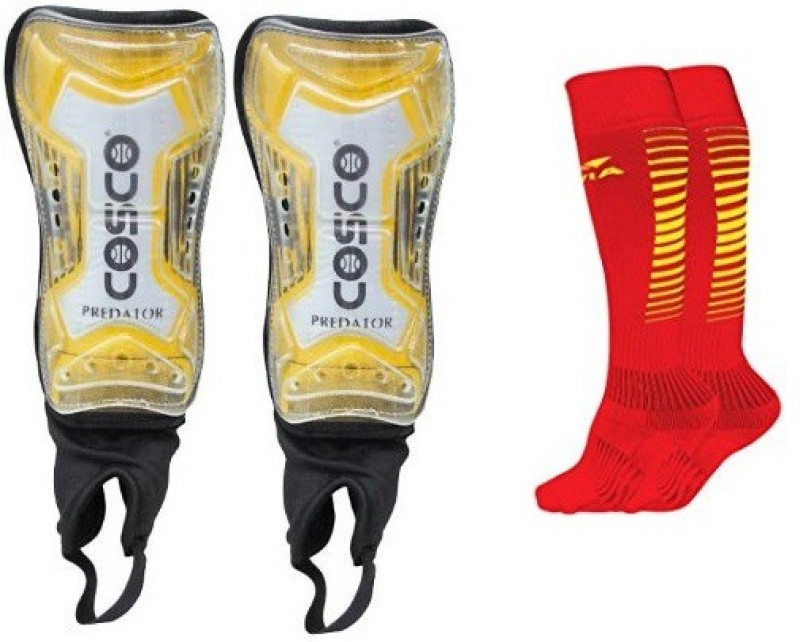 Cosco Combo of two, one Pair of Predator Shin Guard and one Pair of Encounter Socks (Color On Availability)- Football Kit