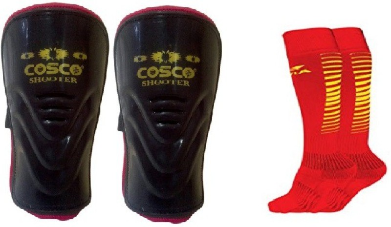 Cosco Combo of two, one Pair of Shooter Shin Guard and one Pair of Encounter Socks (Color On Availability) Football Kit