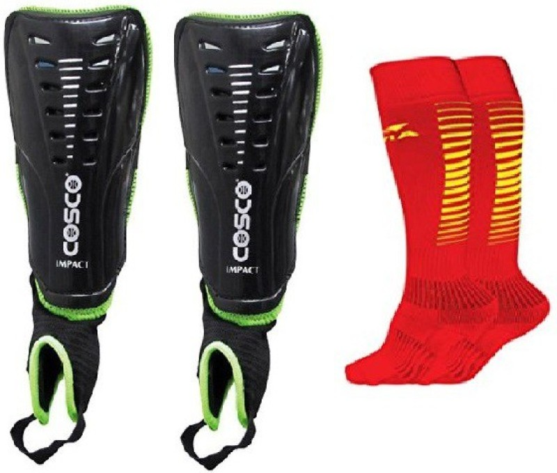 Cosco Combo of two, one Pair of Impact Shin Guard and one Pair of Encounter Socks (Color On Availability) Football Kit