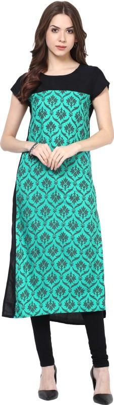 Krapal Printed Women's Straight Kurta(Green)