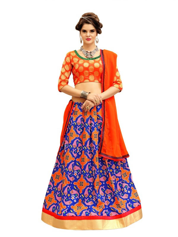 fabkaz Digital Print Lehenga Choli(Orange, Blue)