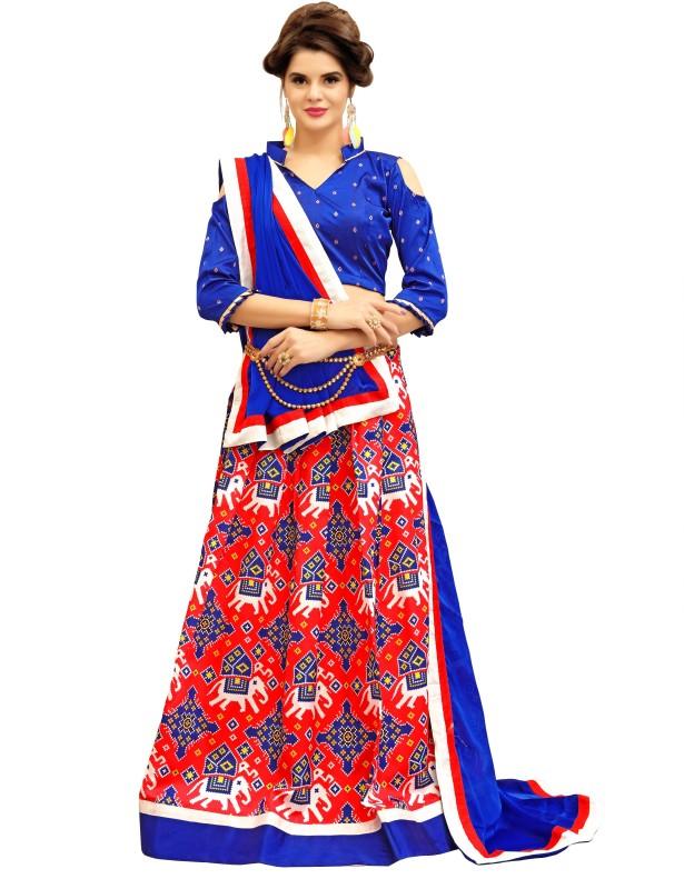 fabkaz Self Design Unstitched Lehenga Choli(Blue, Red)