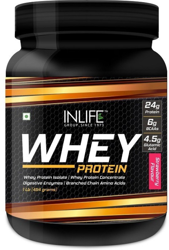 Inlife 1Lb Whey Protein(454 g, Strawberry)