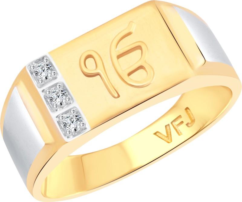 Vighnaharta Lord Ek Onkar Alloy Cubic Zirconia 18K Yellow Gold Plated Ring