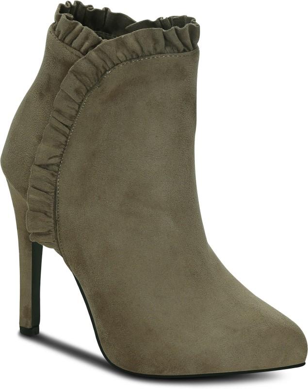 Kielz Khaki-Suede-Women-Boots Boots For Women(Khaki)