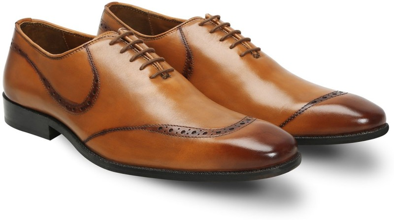 Brune Tan leather hand painted quarter brogue formal shoe for men Lace Up For Men(Tan)