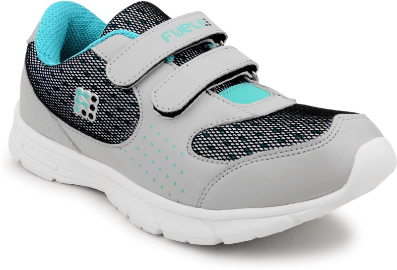 Fuel Womens Girls Velcro Solid Running ShoesGrey G