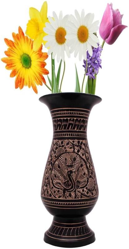 Halowishes Fine Golden Meenakari Work Flower Vase Brass Vase(5.5 inch, Black)