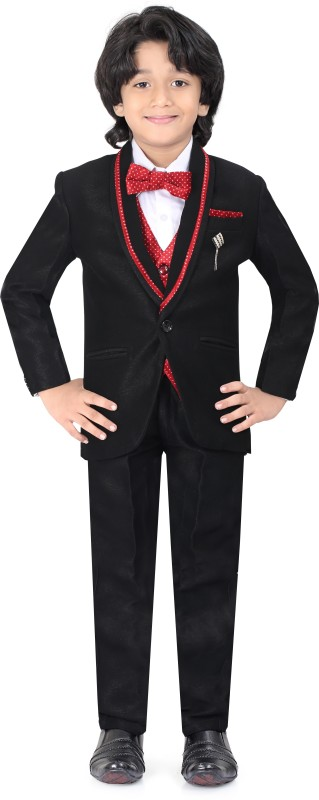 Jeetethnics Coat Suit Set with Shirt Self Design Boys Suit