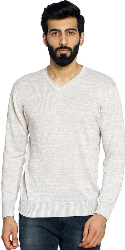 Duke Solid V-neck Casual Men Beige Sweater